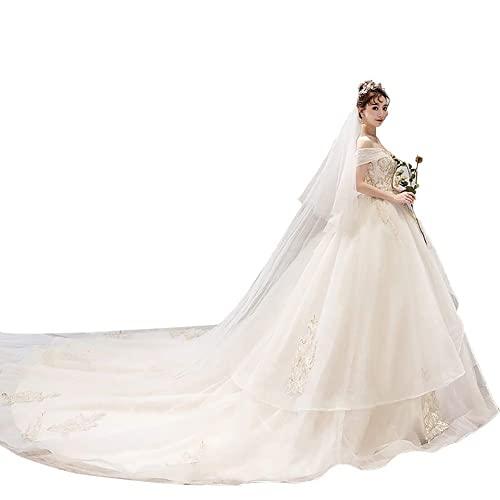 Abiti da Sposa in Pizzo da Sposa Gonna Lunga da Donna Abito da Sera Ball Prom Abito Senza Schienale, C-F, bianco, XXL