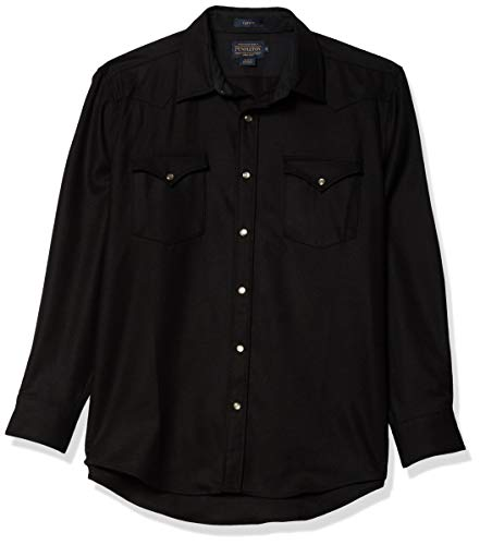 Pendleton Men's Long Sleeve Snap Front Classic Fit Canyon Wool Shirt, Black, MD