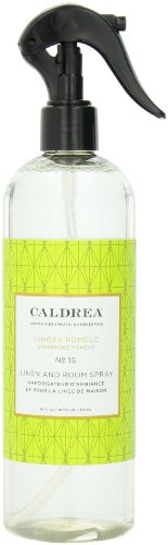 Caldrea Linen and Room Spray Air Freshener, Made with Essential Oils, Plant Derived Ingredients, Ginger Pomelo Scent, 16 oz