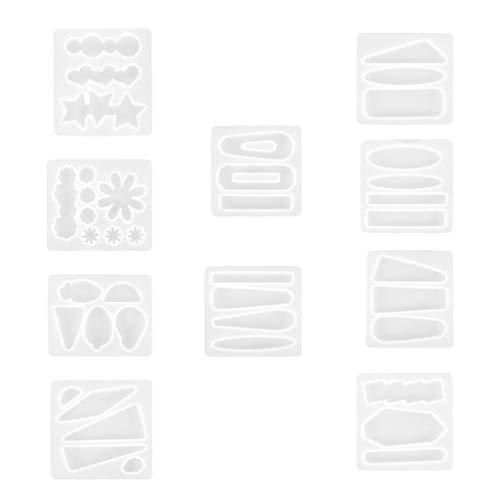EXCEART 10 Piezas de Moldes de Fundición de Joyería de Silicona Pendiente Colgante Molde DIY Pin para El Cabello Joyería de Fundición Moldes de Resina Clip para El Pelo para Llavero