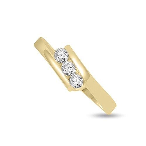 0.75ct G/SI1 Diamante Trilogy Anello da Donna con Rotonda Brillante diamanti in 18kt Oro giallo