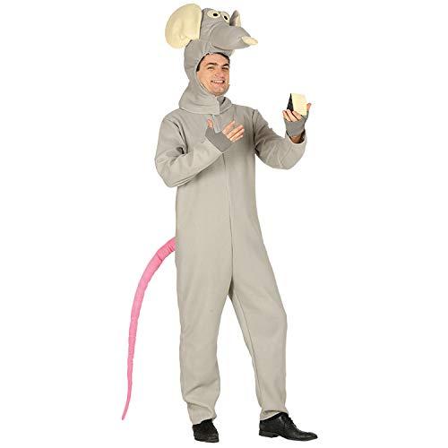 Amakando Divertido Disfraz de roedor para Mujer y Hombre - Gris-Rosa M (ES 48/50) - Disfraz de Carnaval Rata con Cola Festival y Carnaval