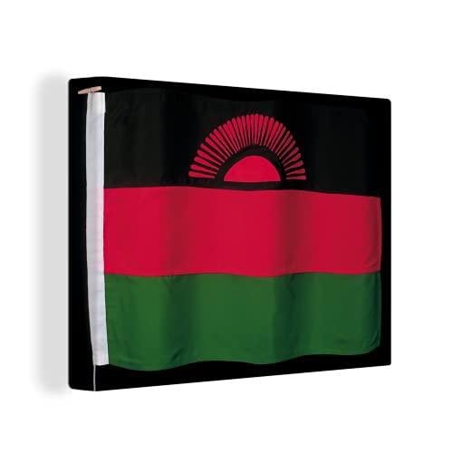 Leinwandbild - Die Flagge von Malawi auf schwarzem Hintergr& - 120x90 cm