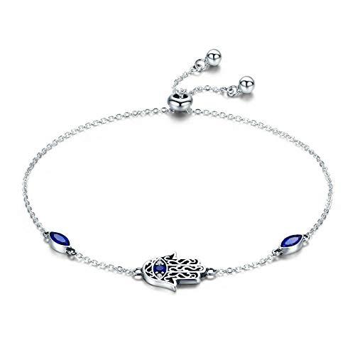 Pulseras de eslabones de Cadena de Mano de Hamsa de la Suerte de Plata de Ley 925 para Mujer, joyería de Plata con circonita Azul