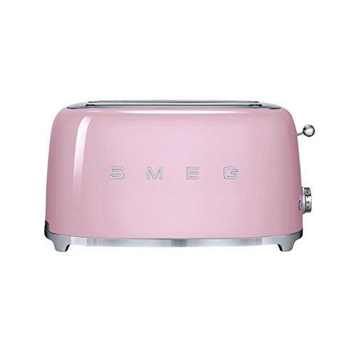 SMEG TSF02 - Tostadora para 4 rebanadas cadillac pink/lacado/6 niveles de tostado/39,4x20,8x21,5cm