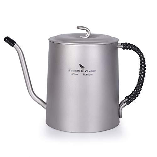 iBasingo 800 ml Titan Wasserkocher Tasse Set Anti-verbrühender Griff Im Freien Camping Kantine Wein Kaffee Teekanne Essgeschirr für Induktionsherd Picknic Heimgebrauch Ti1592B