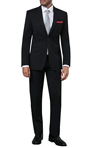Dobell Herren Schwarzer Anzug zweiteilig Fallendes Revers (118 Jackett mit 118 Hosen)