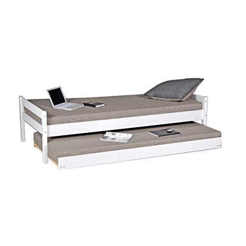 Cama nido - 2 somieres - 1 cajón-cama 90x200 Weber Industries Justin - Blanco