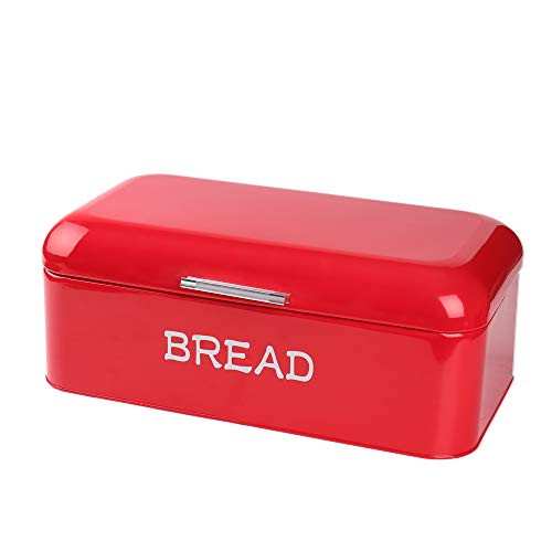 X384 Square Red Metal Large Vintage Kitchen Storage Tin Canister/Bread Box/Bin/Container/Holder/Holiday Gifts