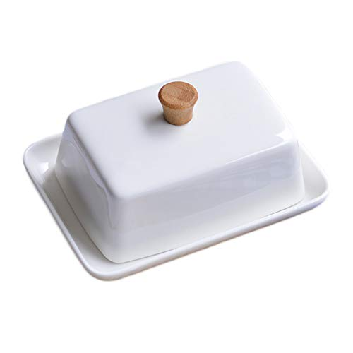 YQX-Creative Porcelain Butter Dish with Lid, Multifunction Square Sealed Butter Box for Soft Butter And Cheese,S