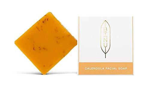 BINU Calendula Facial Soap | Milde Gesichtsseife für trockene Haut | mit Ringelblumen, Lavendel und Ziegenmilch | Rückfettende Gesichtsreinigung | Ringelblumenseife