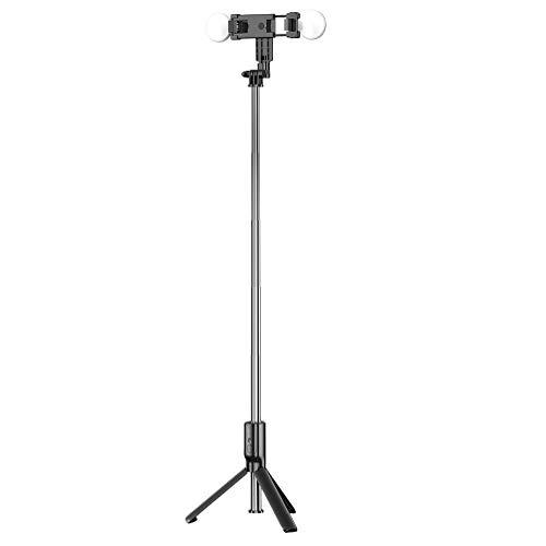 Hemobllo Palo selfie con luz de relleno inalámbrico, soporte para teléfono, trípode extensible para selfies en directo y podcasting
