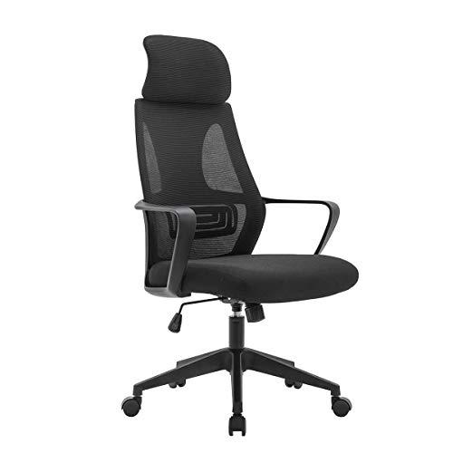 Silla de escritorio ergonómica de oficina con silla de ordenador de malla mecedora con reposacabezas ajustable para oficina en casa