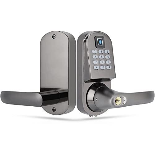 Cerradura de puerta inteligente, contraseña de huella digital Cerradura de puerta con llave mecánica con teclado electrónico, cerradura de puerta antirrobo con cerradura inteligente con diseño