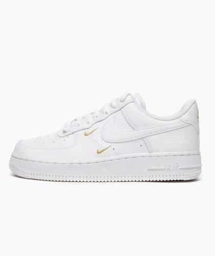 Nike Wmns Air Force 1 '07 ESS, Zapatillas de bsquetbol Mujer, White White Mtlc Gold Black, 41 EU