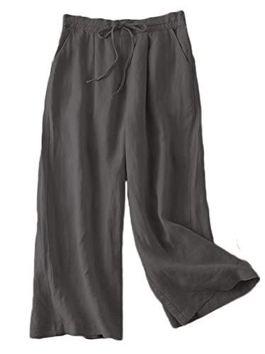 FTCayanz Damen Leinen Culottes Hose Leichte Weitem Bein Sommerhose mit Kordelzug Grau M