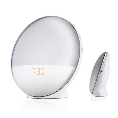 Goliath Smart Wecker, Lichtwecker mit USB Stromanschluss, App Steuerung, FM Radio, Naturgeräusche, Sonnenaufgang, 4 Weckzeiten