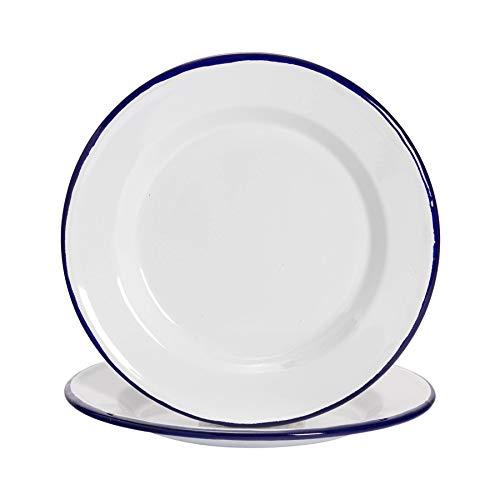 Argon Tableware Juego de Platos Llanos - Esmalte Blanco Tradicional y Borde Azul - 219mm - Pack de 2