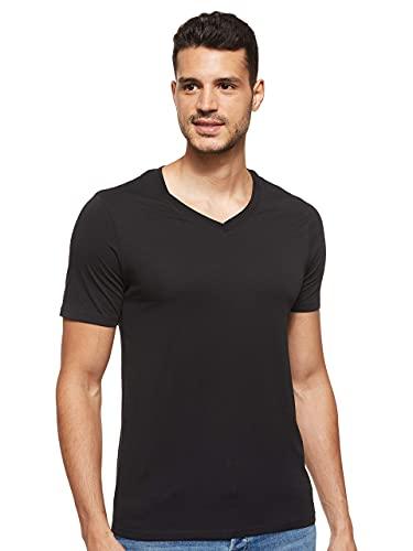 JACK & JONES Herren JJEPLAIN Tee SS V-Neck NOOS T-Shirt, Schwarz (Black Detail: Slim Fit), Large