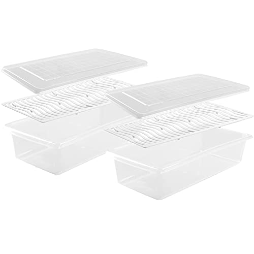 Refrigerator Storage Container, Kitchen Cabinet Storage Box With Lid And Removable Drain Plate, BPA-free To Keep Fresh And Store Fish/meat/cheese 2 Pieces