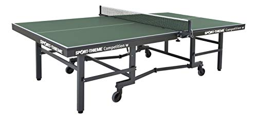 Sport-Thieme Tischtennisplatte Competition | Wettkampftisch für den Hochleistungsspieler | Nach DIN-Norm | 153x55x162 cm | Indoor | Roll - klappbar | Markenqualität, Grün