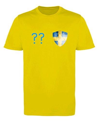 Comedy Shirts - Schweden Trikot - Wappen: Klein - Wunsch - Herren Trikot - Gelb/Blau Gr. XL