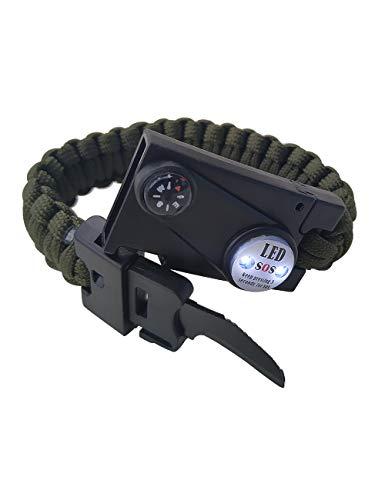 Emergency Knife Bracelets 6-in-1 Survival Kit Outdoors Survival Knife, Flint Stone, Survival Whistle, SOS LED Light,Mini Compass for Men and Women(Army Green)
