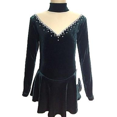 YAMEIJIA kunstschaatsjurk dames meisjes ijskunstschaatsen jurken donkergroen elastaan chiffon SAMT chiffon flanel rekbaar pailletten