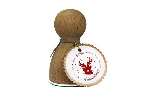 Stemplino Maxi Stempel XL - Frohe Weihnachten Rudolf Kopf - Für Geschenke und Karten zu Weihnachten