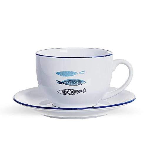 DCASA Taza con Plato Tazas de Desayuno, No Aplica