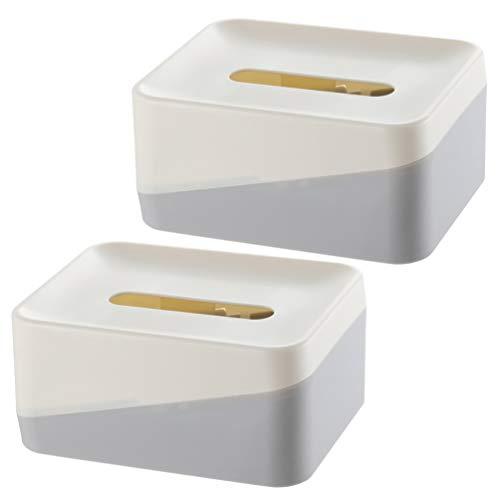 Hemoton Tissuepapier Dispenser Tissue Houder Doos Tissues Doos Plastic Servet Organizer Voor Eetkamer Badkamer Keuken Kantoor 2St