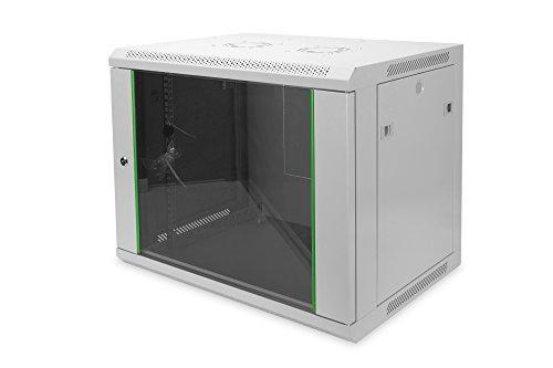 DIGITUS Netzwerk-Schrank 19 zoll 9 HE - Wandmontage - 450 mm Tiefe - Traglast 60 kg - Dynamic Basic - Glastür - Grau