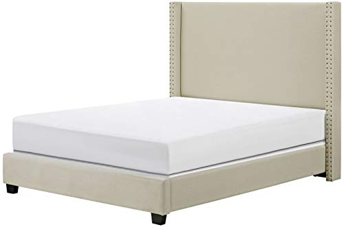Crosley Furniture Casey Upholstered Platform Bed and Wingback Headboard, Queen, Crème Linen