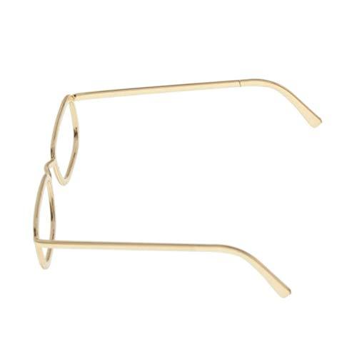sharprepublic 1/6 Mini Metallrahmen Klare Linse Puppenbrillen Für 12 Zoll Actionfiguren - Gold, 2,3x2,3cm