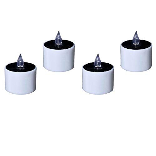 non-brand 4pcs Flameless Tealight Pequeña Vela Eléctrica Solar LED Vela de Plástico...