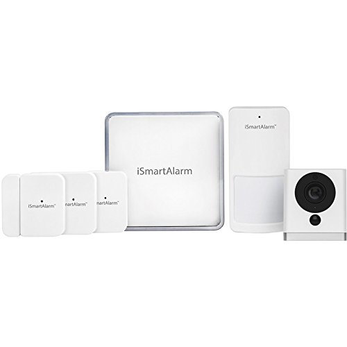 iSmartAlarm Premier Home Security Package | Wireless DIY No Fee IFTTT & Alexa Compatible iOS & Android App with HD camera included | iSA9, White
