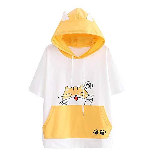 VEMOW Camiseta de Mujer Manga Corta Cuello Redondo con Capucha, Dinosaurio Dibujos Animados Basica Clásico Camiseta Suelto Blusas Camisas Verano Tops Fiesta E-Girl Original T-Shirt(G Blanco,XL)