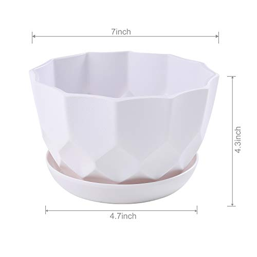 Flower Pots Outdoor Indoor Drain Hole Gray Marble Pattern