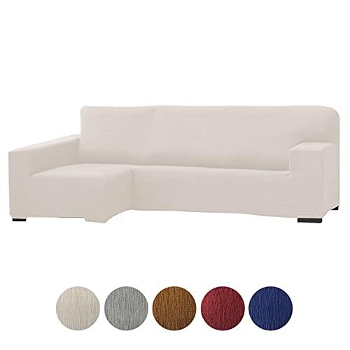 Grupo Fomento Directo - Funda para Sofá Chaise Longue, Funda protectora de sofá en Forma de L de Tela elástica (Beige, Izquierda)