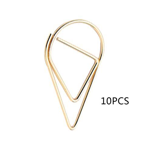 10 pz/pacco Gocce d'acqua in metallo Forma Clip di carta Colorato Segnalibro Kawaii Ufficio Scuola Cancelleria Marcatura Album Clip - Oro - S