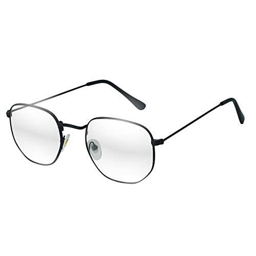 Óculos Hexagonal Armação Preta Grau Feminino Masculino Vintage