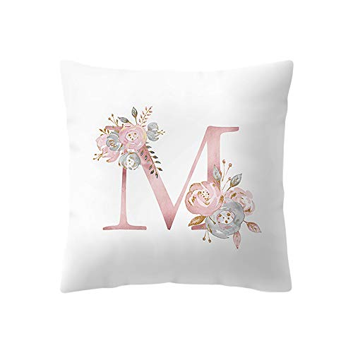 ADESHOP Plain Velvet Cushion Covers, Alphabet Pattern printing Super Soft Cushion Cover Covers Cuddly 18 * 18inch, M