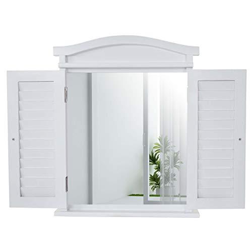 Mendler Wandspiegel Spiegelfenster mit Fensterläden 53x42x5cm ~ weiß lackiert