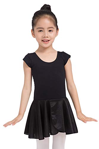 Dancina - Leotardo con Falda para Ballet en Algodón y Lycra para Niña 3-4 años Negro