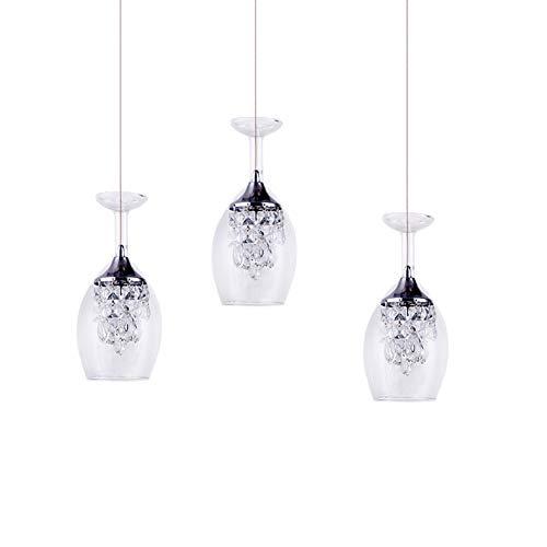Modern LED Kristall Pendelleuchte,Dreifarbiger Dimper Hängeleuchte 3 Lichter 15W Kronleuchter Nordic Klar Weinglas Schatten Indoor Pendellampe Dreifarbiger Dimper 3 Lichter
