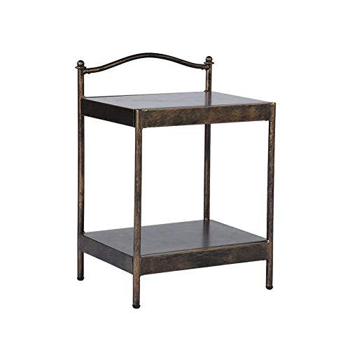 Mesa auxiliar de dos capas, mesa de café, mesa de café, mesita de noche, diseño industrial, fácil de montar, estructura de metal, estilo vintage, color bronce, 37 x 47 x 66 cm