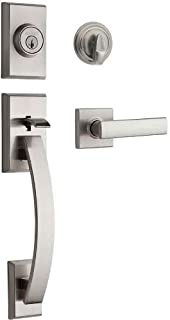 Kwikset Tavaris Single Cylinder Handleset w/Vedani Lever featuring SmartKey in Satin Nickel