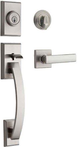 Kwikset 98001-374 Tavaris Single Cylinder Handleset w/Vedani Lever featuring SmartKey in Satin Nickel