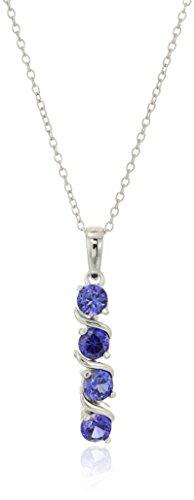 Collar con colgante de plata de ley con 4 piedras auténticas o creadas (4 mm), 18 pulgadas,Blanco