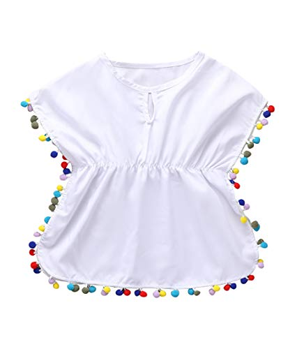 Baby Girls Swimwear Cover-Ups Beach Sundress Pompom Trim Tassel Balls Sundress Poncho Wraps Summer Beach Tops Set (White, 1-2T)